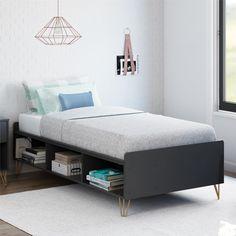 Owen Bed – The Novogratz Platform Bed With Storage, Twin Platform Bed, Bed Shelves, Small Room Bedroom, Bedroom Ideas, Bedroom Designs, Girls Bedroom, Bedroom Decor, Bed Slats