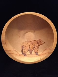 Great Alaska Bowl Company Wooden Bowl with Pyrography Bear by Tom Schulz
