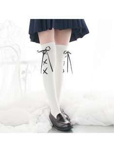 6361f85a1e1 Cute School-Girl Lolita bow Stockings✨🧦✨  cute  school  love