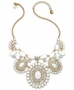 kate spade new york Gold-Tone Capri Garden White Statement Necklace