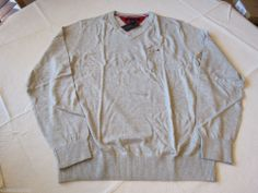 Men's Tommy Hilfiger long sleeve v neck sweater shirt 7842268 Soft Grey Heath S