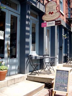 Visit our Locations in Old City or Reading Terminal Market · Old City Coffee Cafe Bistro, Cafe Bar, Cafe Restaurant, Restaurant Branding, Outdoor Signs, Outdoor Tables, Coffee Shop Signs, Cute Bakery, Cosy Cafe