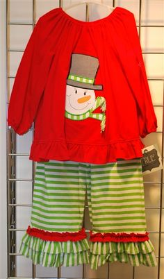 True Snowman Ruffle Pant Set