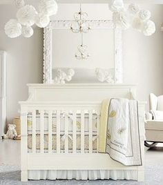 Pottery Barn Nursery with whites, pale cream, and barely yellow. Unisex or neutral nursery bedding and bedroom.