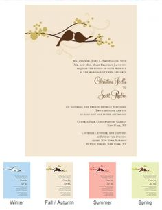 Love Birds Wedding Invitations (Set of 4 - 4 Colors) from Wedding Favors Unlimited