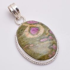 925 Solid Sterling Silver Pendant, Natural Ruby Fosite Gemstone Jewelry P605 #Handmade #Pendant