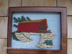 Red Covered Bridge 3 D Wall Hanging Covered Bridges, Wall Hangings, 3 D, Frame, Painting, Home Decor, Homemade Home Decor, Covered Decks, Painting Art