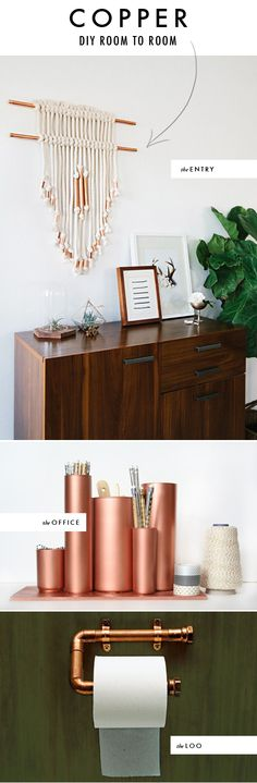 The House That Lars Built.: DIY room to room: Copper. Love the wall hanging. A rustic version would be to substitute copper for drift wood