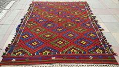 VINTAGE Turkish Kilim Diamond  Kilim Rug Antique Kilim Rug Carpet circa 1970 , 70,4'' X 101,5 '' inches -179 CM X 258 CM