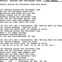 Song Rockin' Around The Christmas Tree by John Marks, with lyrics for vocal performance and accompaniment chords for Ukulele, Guitar Banjo etc.