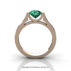 Modern 14K Rose Gold Beautiful Wedding Ring or Engagement Ring for Women with 1.0 Ct Emerald Center Stone R665-14KRGEM-1