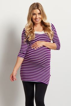 Purple White Striped Crochet Accent 3/4 Sleeve Top