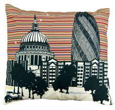Striped City Scape Cushion 45cm x 45cm www.morebydesign.com