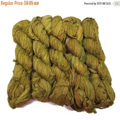 SALE Recycled Sari Silk Ribbon, 100g skeins , Dijon