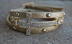 Leather Wrap Cross Bracelet Gold by StringofLove on Etsy, $22.00