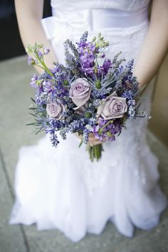 Fresh & dried lavender with ocean song roses, thistle and stock.  Photo by Photography Du Jour