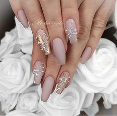 Cool Nail Designs, Acrylic Nail Designs, Natural Nail Designs, Natural Design, Gel Nagel Design, Natural Gel Nails, Natural Wedding Nails, Cute Gel Nails, Wedding Nails Design