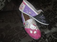Custom made hand painted Toms shoes Hello Kitty by yeahwhatever00, $150.00