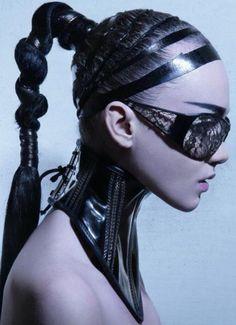 futuristic, cyberpunk, hair style, neck cover