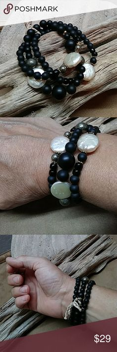 """Stretchy Bracelet Trio Black/Cream/Gold Awesome trio of matte black Onyx, beautiful freshwater coin pearls and smooth metallic Pyrite. Gold accents. 7"""" Jewelry Bracelets"""