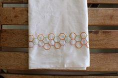 Hexagon Embroidered Tea Towel | Maker Crate