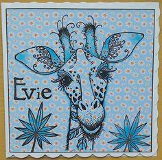 Pink Ink Giraffe and Clarity Stamps birthday card - by Lynne Lee Kids Birthday Cards, Ink Stamps, Animal Cards, Art Journaling, Blue Bird, Clarity, Giraffe, Stamping, Card Ideas