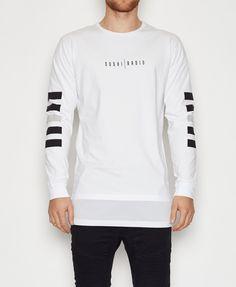 Sushi Radio / Space Wars Layered Long Sleeve T-Shirt White All Men's Styles Men   Neverland Store
