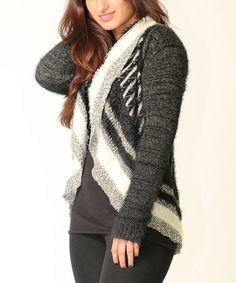 Look what I found on #zulily! Black & Ivory Stripe Open Cardigan by Diva Designs #zulilyfinds