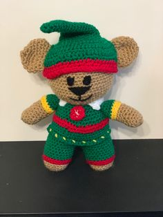 Frontline Hero Bear pattern by Yarn It Darn It, adapted to crochet a Christmas Elf. Darning, Christmas Elf, Crochet Patterns, Teddy Bear, Hero, Toys, Animals, Activity Toys, Animales