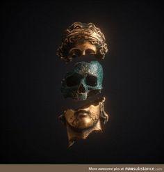 hippie tattoo 717057571904017125 - Album Covers – Apashe on Behance Source by enriuop Inspiration Tattoos, Sculpture Art, Sculptures, Vaporwave Art, Gold Aesthetic, Grafik Design, Skull Art, Gold Skull, Skulls