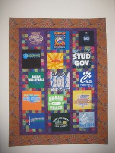 The prettiest one I've done. A t-shirt quilt for our neighbor and my son's babysitter. Loved how it turned out. 2012. It helped that she had really fun, bright t-shirts to work with.