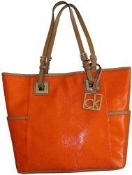Women's Calvin Klein Purse Handbag Signature Logo Tote Burnt Orange