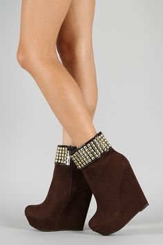 Dollhouse Swagger Studded Cuff Platform Wedge Bootie $44.20 Wedge Boots, Wedge Heels, High Heels, Platform Wedge, Wedges, My Style, Anonymous, Shoes, Porn