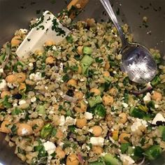 Salad: Bulgar, cucumbers, parsley, mint, red onion, chickpeas, feta cheese, and pistachios.