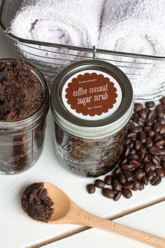 Homemade Coffee-Coconut Sugar Scrub. Skin-firming recipe to help reduce the appearance of cellulite.