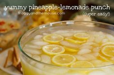 Yummy pinapple-lemonade punch… so good. Very refreshing, very crisp …1 cup Countrytime Lemonade mix 2 cups cold water, 1 can of chilled pineapple juice {46 oz}2 cans chilled Sprite.Mix together and add lemon slices…