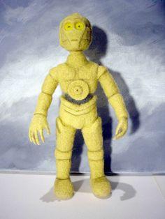 OOAK Star Wars C2PO robot Handmade needle felting wool soft doll sculpture #Unbranded