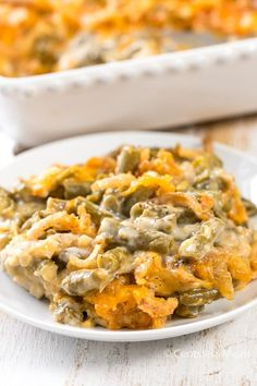 This Classic Green Bean Casserole features tender green beans in a creamy cheesy mushroom sauce and is crowned with crispy fried onions.   This easy side dish is a staple for every turkey dinner and perfect to go alongside a steak or chicken year round! Classic Green Bean Casserole ©CentsLessMeals Pin it to your SIDES BOARD …