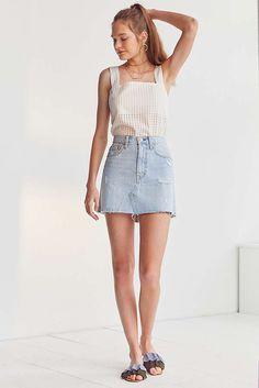 Slide View: 3: Levi's Deconstructed Denim Mini Skirt