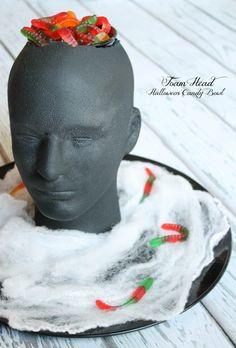 Create your own Foam Head Halloween Candy Bowl via createcraftlove.com!