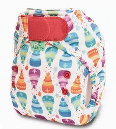 Happy Birthday nappy - TotsBots V4 Easyfit Birth to Potty nappy (8-35lbs), Hook and Loop