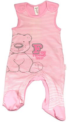 Pyjama bébé sans manches rose à rayures - Trousseau naissance fille