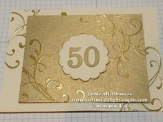 Gold on Gold and Gilded edges, this is a wonderful 50th Anniversary Card n invite #50thAnniversary #CardMaking