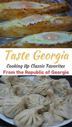 Classic dishes from the Republic of Georgia - famous for their cheese bread and dumplings! Khachapuri and Khinkali - so delicious