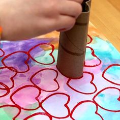 Upcycled Toilet Paper Roll Heart Stamper - From classroom activities to handmade Valentines to play at home kids will love to make these 18 super cute DIY craft projects. Each of these Valentine crafts is easy enough for most ages to enjoy making. Valentine's Day Crafts For Kids, Valentine Crafts For Kids, Valentines Diy, Toddler Crafts, At Home Crafts For Kids, Kids Diy, Diy Craft Projects, Craft Ideas, Saint Valentin Diy