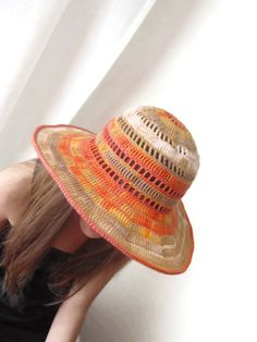 Summer Floppy Hat Wide Brimmed Sea Breeze Crochet by dodofit