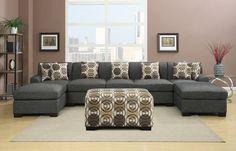 Hayward Ash Black U-Shaped Sectional Sofa Set | Urban Cali | Free Shipping - Hayward Ash Black U-Shaped Sectional Sofa Set by Urban Cali