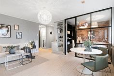 Small Scandinavian Apartment With Open and Airy Design Small Apartment Bedrooms, Small Apartment Design, Studio Apartment Decorating, Small Room Design, Tiny Apartments, Apartment Living, Deco Studio, Appartement Design, Scandinavian Apartment
