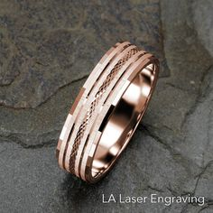 Mens Wedding Band, Solid Gold Mens Ring, 6mm Ring, 14k Rose Gold Band, Grooved Faceted Textured Mens Band, Wedding Ring, Wedding Band Mens by LALaserEngraving on Etsy
