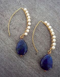 wire wrapped with Lapis Lazuli Gemstone and Spinel gemstone small beads